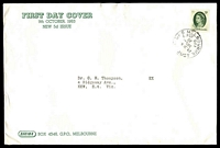Lot 4416:Sigma 1963 5d Green QEII on annotated cover. GPO Melbourne FDI cancel of 9OCT63.