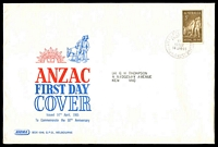 Lot 719:Sigma 1965 5d Anzac on illustrated cover. GPO Melbourne FDI cancel of 14APR65.