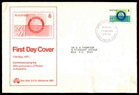 Lot 4561:Sigma 1971 6c Rotary on illustrated cover (slight soiling). Chatswood FDI cancel of 17MAY1971. Contents included.