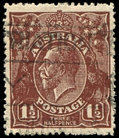 Lot 2185:1½d Brown Die I BW #86(9)j [9L31] Break in bottom frame under left value tablet - rare ACCC 1st State before metal repair falls out to leave gap, Cat $75.