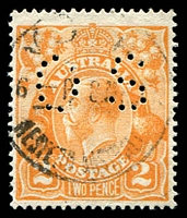 Lot 361:2d Orange Die I - BW #95c Dry ink perf 'OS', Cat $100.