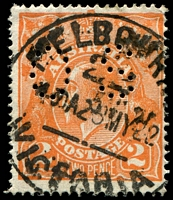 Lot 1960:2d Orange Die I - BW #95(6)d [6L5] Retouched LIA of AUSTRALIA, perf 'OS', partially obscured by pmk Cat $30.