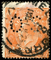Lot 367:2d Orange Die I - BW #95(8A)i [8AR24] White flaws on T and after last A of AUSTRALIA, perf 'OS', Cat $20.