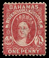 Lot 19148:1863-77 Interinsular Wmk Crown/CC SG #25 1d vermilion thin paper, Cat £75.