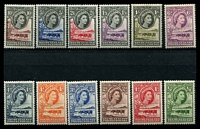Lot 17000:1955-58 Pictorials SG #143-53 set of 12, 4d & 1/3d to 10/- MUH, rest have hinge rems, Cat £100.