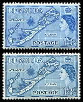 Lot 3543:1953-62 QEII Pictorials SG #145a,145b 1/3d greenish blue (I) & 1/3d blue (II), Cat £16.75.