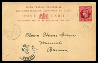 Lot 3409:1899 (Aug 28) philatelic use of Leewards 1d carmine Postal Card, indicia cancelled with 'A91'.