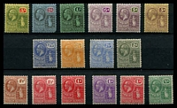 Lot 19504:1922-28 KGV Ursula Wmk Multi Script Crown/CA SG #86-101 set of 16, 2/6d rounded corner, Cat £100.