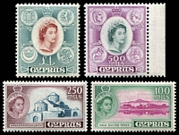 Lot 3485:1955-60 QEII Pictorials SG #184-7 100m, 250m, 500m & £1, Cat £97. (4)