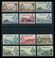 Lot 3641:1953-59 QEII Pictorials SG #145-54b set to 1/- with additional shades of 6d & 1/-, Cat £35.