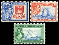 Lot 3547:1939-55 Pictorials SG #52-4 2/- to 5/-, Cat £32.