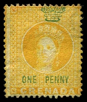 Lot 3743:1875 Green Overprint Wmk Large Star: 1d on orange, light fiscal cancel.