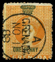 Lot 3918:1879 Green Overprint Wmk Small Star: 1d on orange, deep green ovpt, Grenada cds 1888