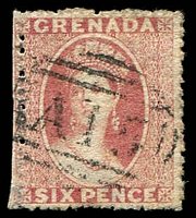 Lot 20528:1861-62 No Wmk SG #3 6d rose, straight edge at left side due to misplaced perfs, Cat £90, cancelled with 'A15'.