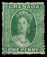 Lot 20530:1863-71 Chalon Wmk Small Star Rough Perf 14-16 SG #4 1d green, Cat £17.