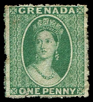 Lot 20533:1863-71 Chalon Wmk Small Star Rough Perf 14-16 SG #5 1d yellowish green, MNG, Cat £130.