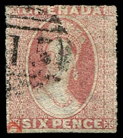Lot 20534:1863-71 Chalon Wmk Small Star Rough Perf 14-16 SG #6 6d rose, Cat £13.