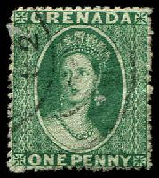 Lot 3611:1881 Chalon Wmk Small Star (Sideways)  Rough Perf 14½ SG #19 1d green, Cat £9.50.