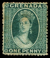 Lot 3610:1873 Chalon Perf Large Star (Sideways) SG #11 1d blue-green, light tones, Cat £110 as mint.