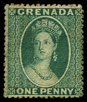 Lot 3721:1873 Chalon Wmk Small Star (Sideways) SG #10 1d deep green, Cat £130.