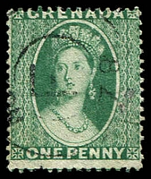 Lot 3722:1875 Chalon Perf Large Star SG #14 1d green P14.