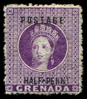 Lot 3903:1881 Surcharge on Revenue Stamps SG #21 ½d deep mauve, Cat £17.