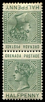Lot 3904:1883 QV 'POSTAGE' SG #30a ½d dull green Tête-bêche pair.