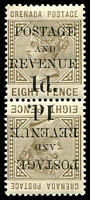 Lot 3613:1888-91 Value Below 'POSTAGE and REVENUE' SG #46a 1d on 8d Tête-bêche pair, Cat £40.