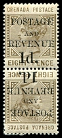 Lot 3725:1888-91 Value Below 'POSTAGE and REVENUE' SG #46a 1d on 8d Tête-bêche pair, Cat £40.
