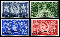 Lot 3884:1953 Coronation SG #103-6 set of 4, 4a rounded cormer, Cat £14.50.