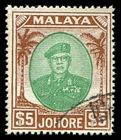 Lot 4122:1949-55 Sultan Sir Ibrahim SG #147 $5 green & brown, Cat £17.