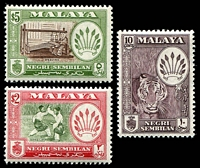 Lot 4123:1957-63 Arms SG #74,78a,79a 10c deep maroon, $2 & $5 P13x12½, Cat £41. (3)