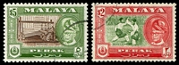 Lot 3919:1957-61 Sultan Yussuf Izzuddin Shah SG #160-1 $2 & $5 both P12½, Cat £16.50.