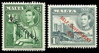 Lot 4134 [2 of 2]:1948-53 Self Government Overprint SG #236a,237b,238c,239a,241a set of 6 1953 colours.