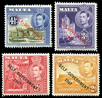 Lot 4134 [1 of 2]:1948-53 Self Government Overprint SG #236a,237b,238c,239a,241a set of 6 1953 colours.