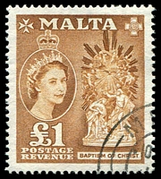 Lot 4136:1956-58 QEII Pictorials SG #282 £1 yellow-brown, Cat £35.