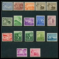 Lot 3937:1953-58 Pictorials SG #293-306 set of 15, plus extra copies of 10c & 1r, hinge rems, Cat £60+. (17)