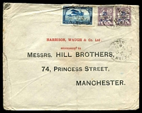 Lot 3945:1922 (May 22) use 25 on 25 violet Protectorate pair & 75c blue Plane on cover from Casablanca to Manchester.