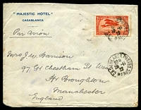 Lot 3992:1922 (Nov 29) use 1f red Plane on air cover from Casablanca to Manchester.