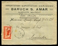 Lot 4168:1923 (Feb 2) use 1f red Plane on air cover from Meknes to Manchester.