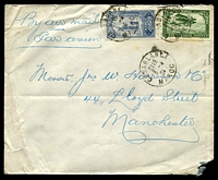 Lot 4169:1924 (Apr 3) use 25 dull blue & 75c green Plane on air cover from Casablanca to Manchester.