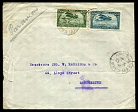 Lot 4170:1924 (May 6) use 50c blue Plane & 75c green Plane on air cover from Casablanca to Manchester.