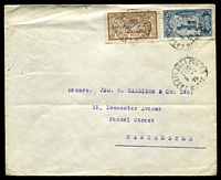 Lot 3993:1925 (Apr 8) use of 50c on 50c Merson Protectorate & 25c blue on air cover from Casablanca to Manchester.
