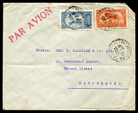 Lot 3947:1925 (Apr 22) use of 25c blue & 1f red Plane on air cover from Casablanca to Manchester.