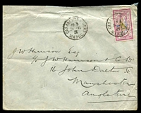 Lot 4172:1926 (Nov 24) use of 1pi on 1F Merson Protectorate on air cover from Casablanca to Manchester.