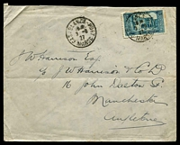 Lot 3948:1927 (Jun 9) use of 1f50 blue-green on cover from Casablanca to Manchester.