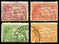 Lot 4208:1925-28 Huts SG #125-7 ½d to 2d, Cat £18. (4)