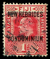 Lot 3984:1910 Overprints on Fiji SG #11 1d red.