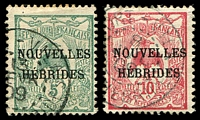 Lot 4040:1908 Overprints on New Caledonia SG #F1-2 5c green & 10c red.