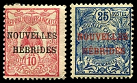 Lot 4215:1908 Overprints on New Caledonia SG #F2-3 10c red & 25c blue/green, minor adhesion on gum, Cat £18